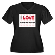 I LOVE SOCIAL WORKERS Women's Plus Size V-Neck Dar