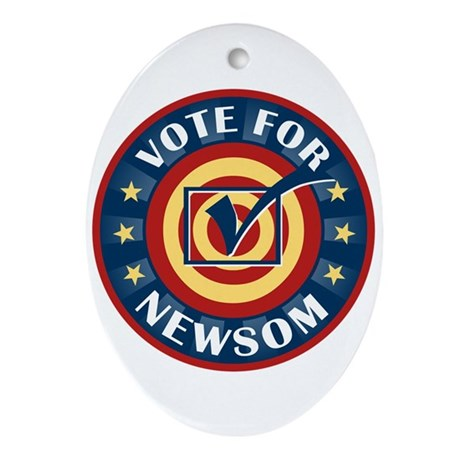 Vote for Gavin Newsom Oval Ornament