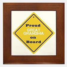 Proud Great Grandma on Board Framed Tile