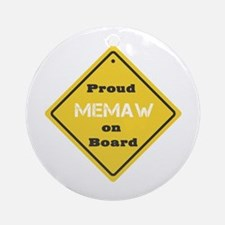 Proud Memaw on Board Ornament (Round)