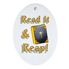 """3-D! Read It & Reap"" Oval Ornament!"