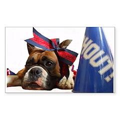 Cheerleader Boxer dog Stickers (Rectangle 50 pk)
