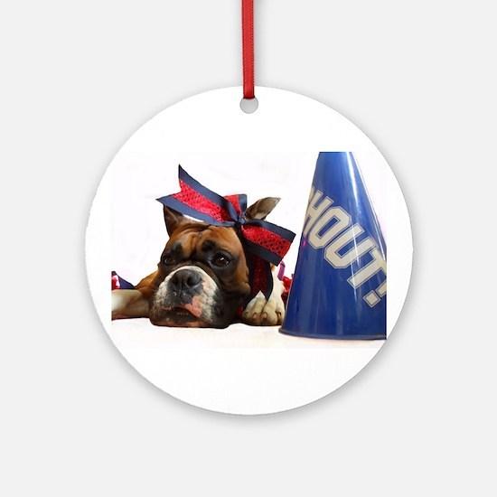 Cheerleader Boxer dog Ornament (Round)