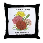 Vintage Carnation Seed Label Throw Pillow