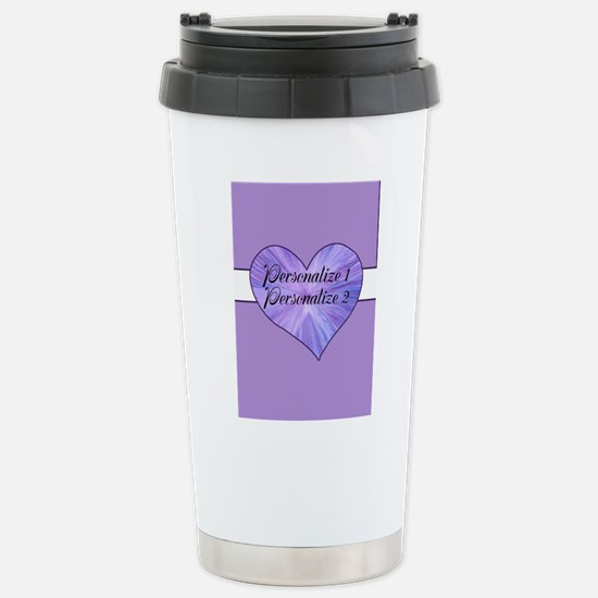 Personalized Purple Hea Stainless Steel Travel Mug