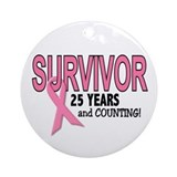 Breast cancer survivor 25 year celebration Round Ornaments