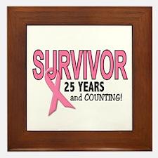 Breast Cancer Survivor 25 Years Framed Tile