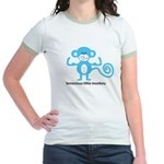 Tenacious Little Monkey (Blue) Jr. Ringer T-Shirt