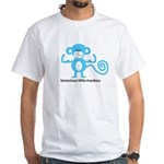 Tenacious Little Monkey (Blue) White T-Shirt