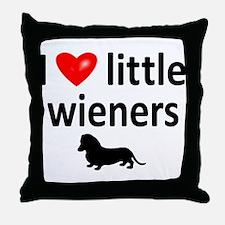 Love Little Wieners Throw Pillow