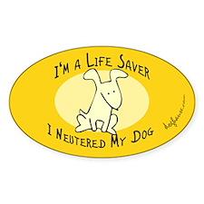 I Neutered My Dog Oval Decal