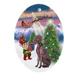 Christmas Tree & Weimaraner Oval Ornament