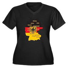 Germany Map Women's Plus Size V-Neck Dark T-Shirt