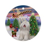Christmas Tree & Tibetan Terrier Ornament (Round)