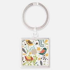 Woodland Birds Square Keychain
