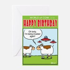 Invasion Cow Greeting Card