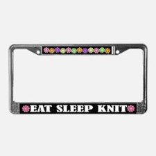 Eat Sleep Knit License Plate Frame