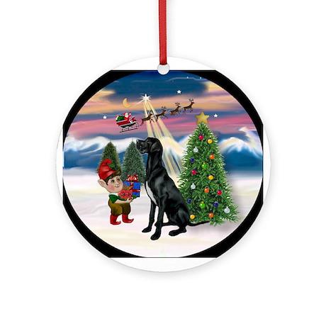 Black Great Dane & Christmas Tree Ornament (Round)