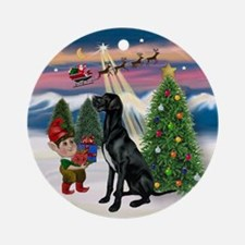 Black Great Dane & Christmas Tree Ornament (Round)