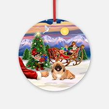 Santa's Treat for his Pekingese Ornament (Round)