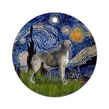 Starry Night Irish Wolfhound Ornament (Round)