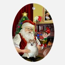 Santa and his Pomeranian Oval Ornament