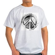 Grunge Urban Peace Sign Ash Grey T-Shirt