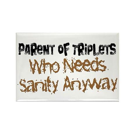 Parent Of Triplets Rectangle Magnet