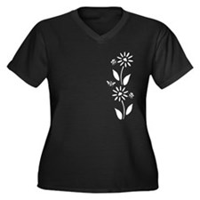 Flowers and Bees Women's Plus Size V-Neck Dark T-S