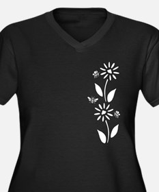 Flowers And Women's Plus Size V-Neck Dark T-Shirt