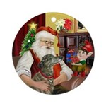 Santa & His Brindle Greyhound Ornament (Round)