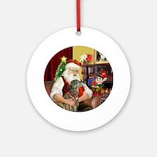 Santa & His Brindle Greyhound Ornament (Round)