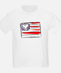 US Flag with Heart T-Shirt