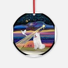 Samoyed & Christmas Star Ornament (Round)