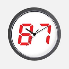 87 eighty-seven red alarm clo Wall Clock
