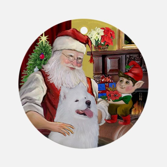 Santa's Samoyed Ornament (Round)
