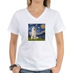 Starry Night / Pyrenees Women's V-Neck T-Shirt