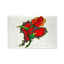 BarbWire Heart & Rose Rectangle Magnet