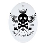 Skull and Crossbones w/Wings Oval Ornament