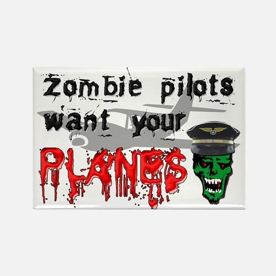 Zombie Pilot Rectangle Magnet