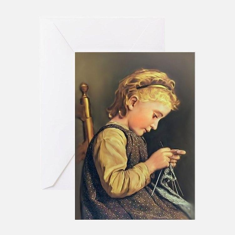 Young Girl Knitting Greeting Card