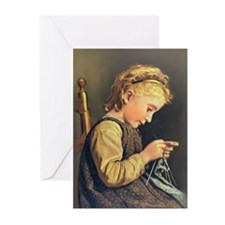 Young Girl Knitting Greeting Cards (Pk of 20)