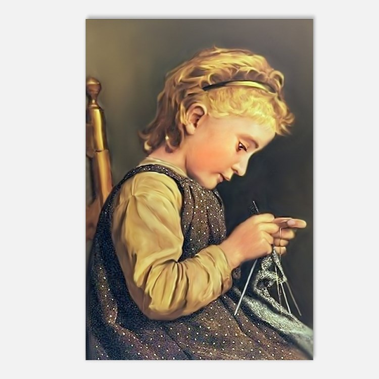 Young Girl Knitting Postcards (Package of 8)