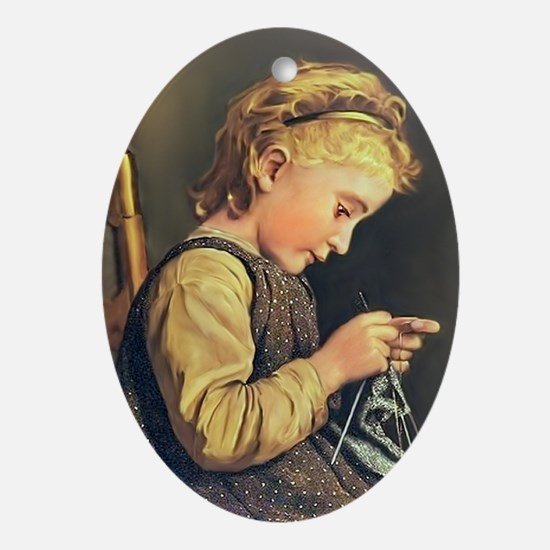 Young Girl Knitting Oval Ornament