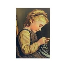 Young Girl Knitting Rectangle Magnet