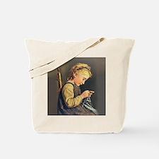 Young Girl Knitting Tote Bag
