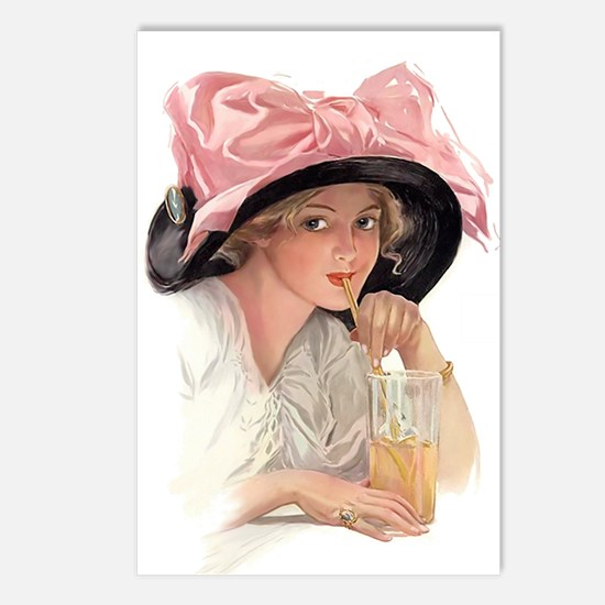 Pink Bow Hat Postcards (Package of 8)