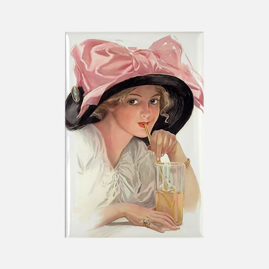 Pink Bow Hat Rectangle Magnet
