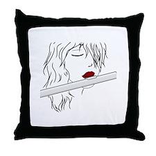 Flute - White Throw Pillow