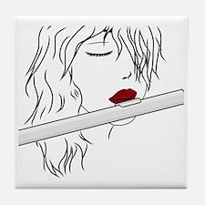 Flute - White Tile Coaster